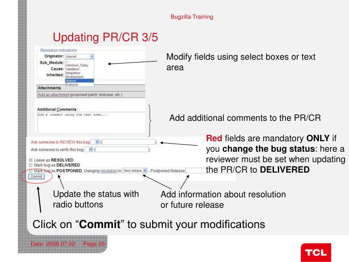 Updating PR/CR 3/5