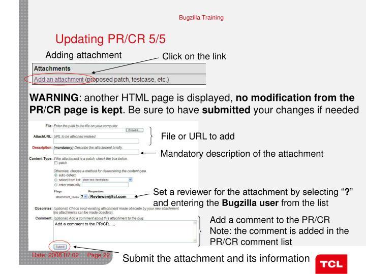 Updating PR/CR 5/5