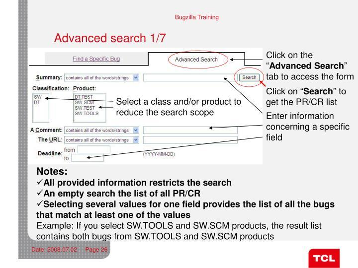 Advanced search 1/7