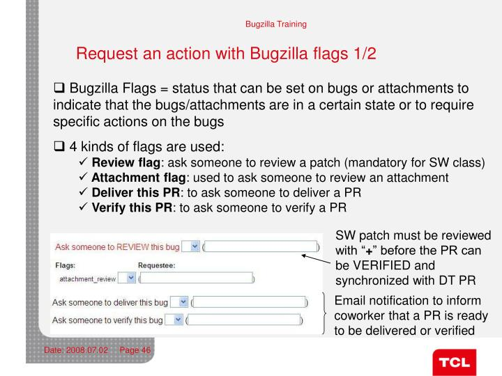 Request an action with Bugzilla flags 1/2