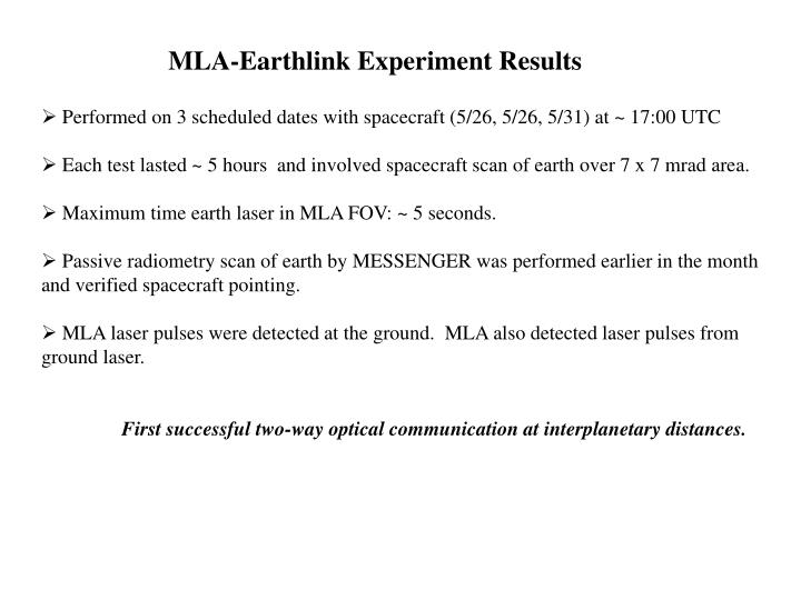 MLA-Earthlink Experiment Results