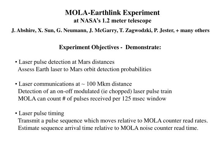 MOLA-Earthlink Experiment