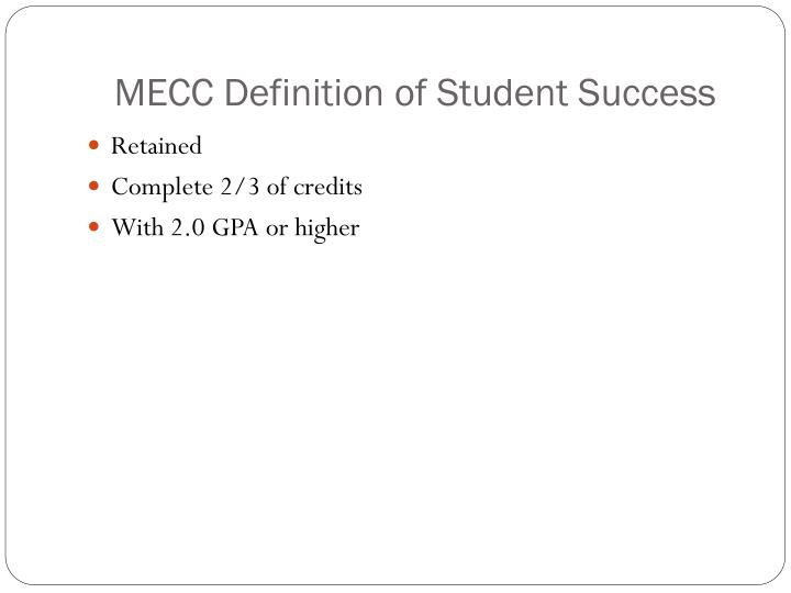 Mecc definition of student success
