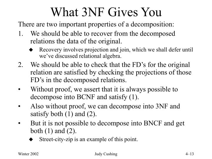 What 3NF Gives You