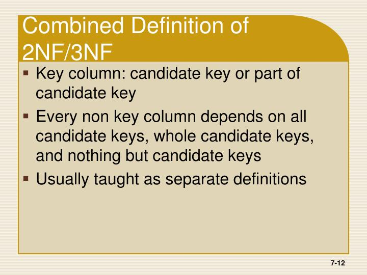 Combined Definition of 2NF/3NF