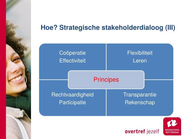 Hoe? Strategische stakeholderdialoog (III)