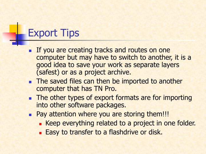 Export Tips
