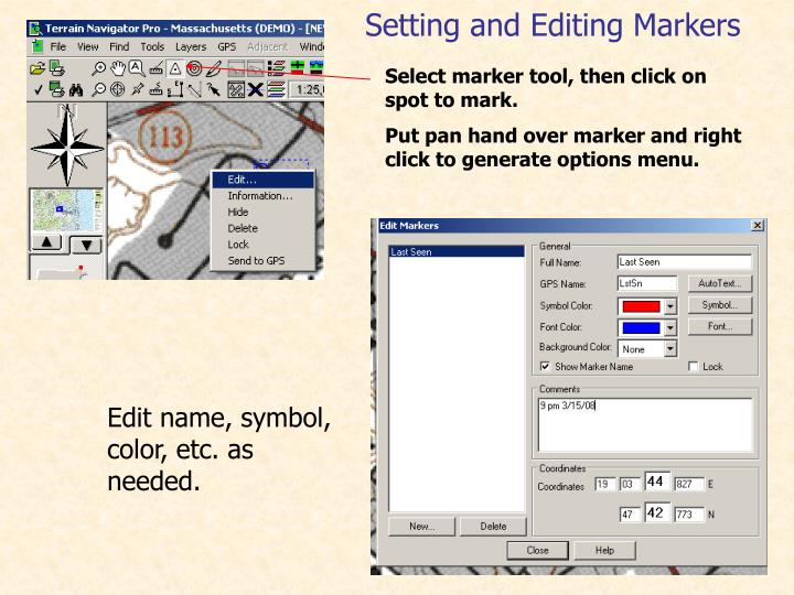 Select marker tool, then click on spot to mark.
