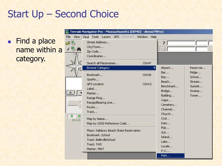 Start Up – Second Choice
