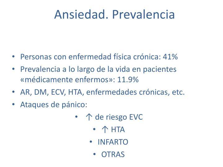 Ansiedad. Prevalencia