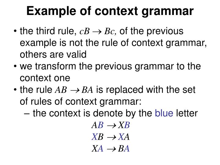 Example of context grammar
