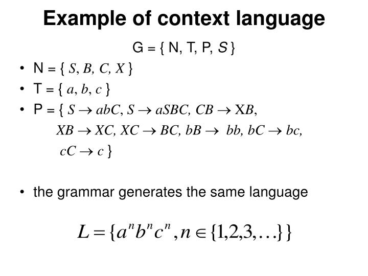 Example of context language