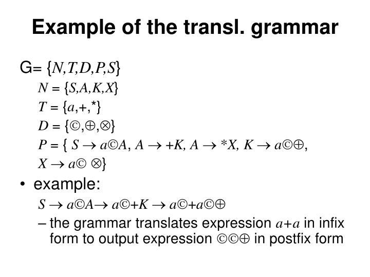 Example of the transl. grammar