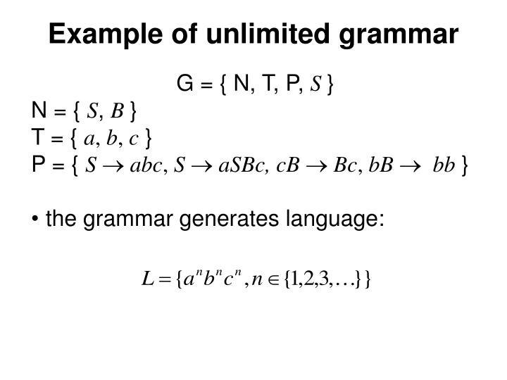 Example of unlimited grammar