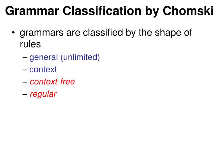 Grammar Classification by