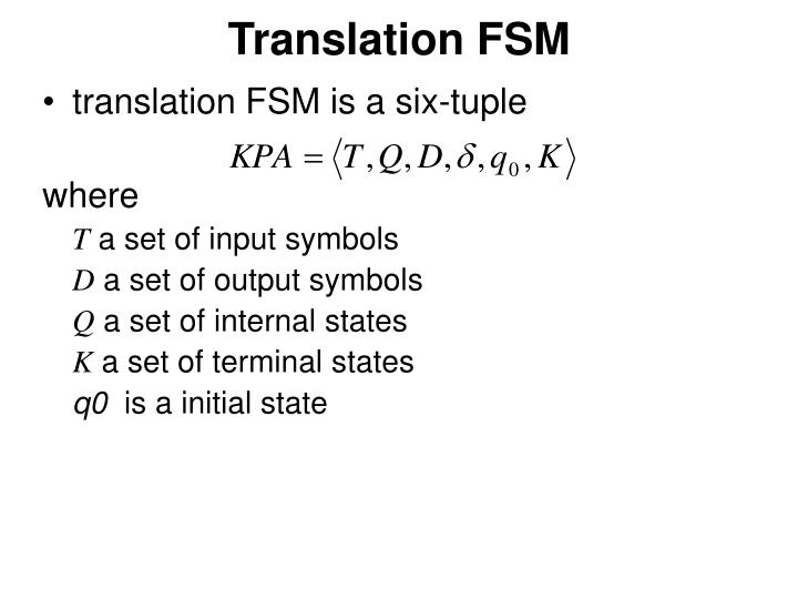 Translation FSM