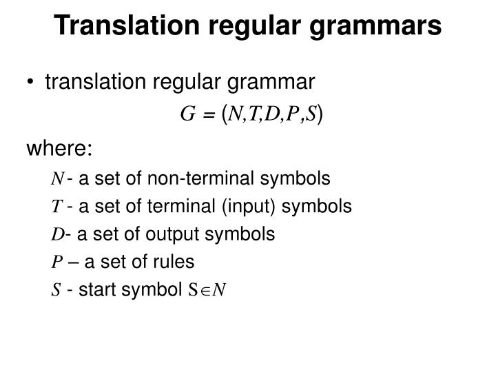 Translation regular grammars