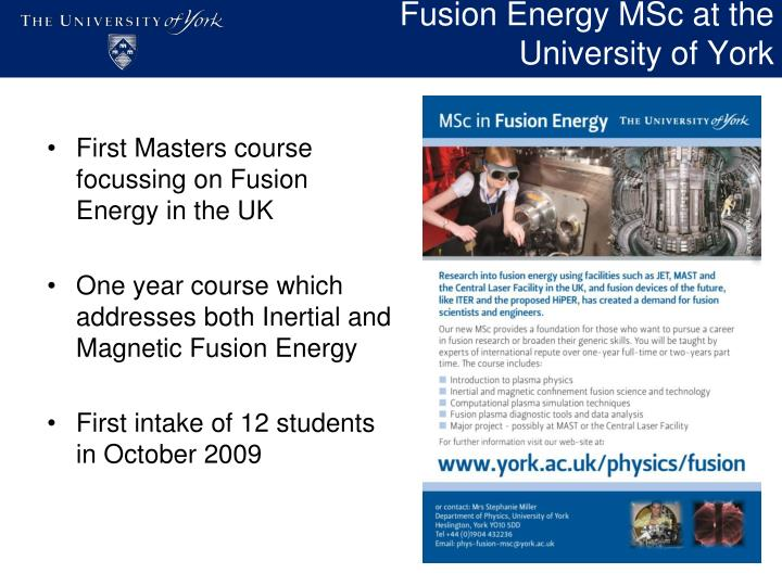 Fusion energy msc at the university of york