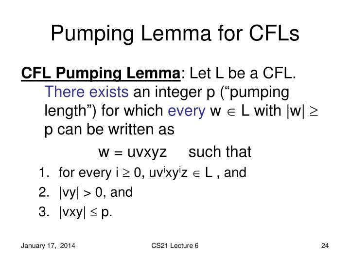 Pumping Lemma for CFLs