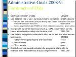 administrative goals 2008 9 consumers of data
