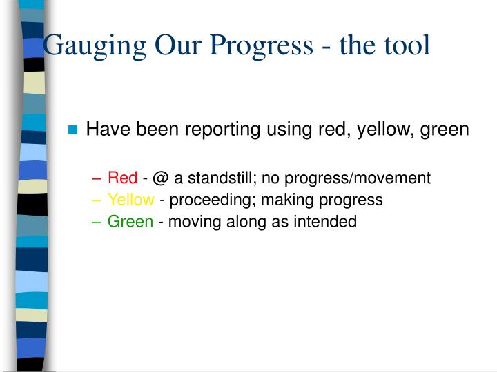 Gauging Our Progress - the tool