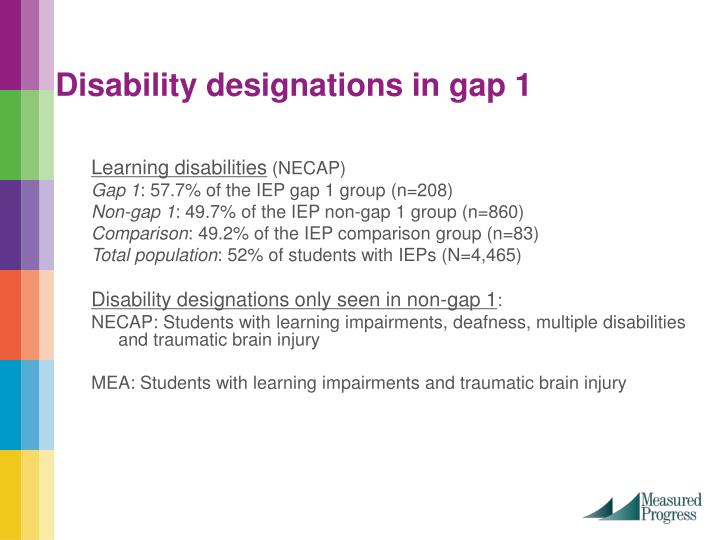 Disability designations in gap 1