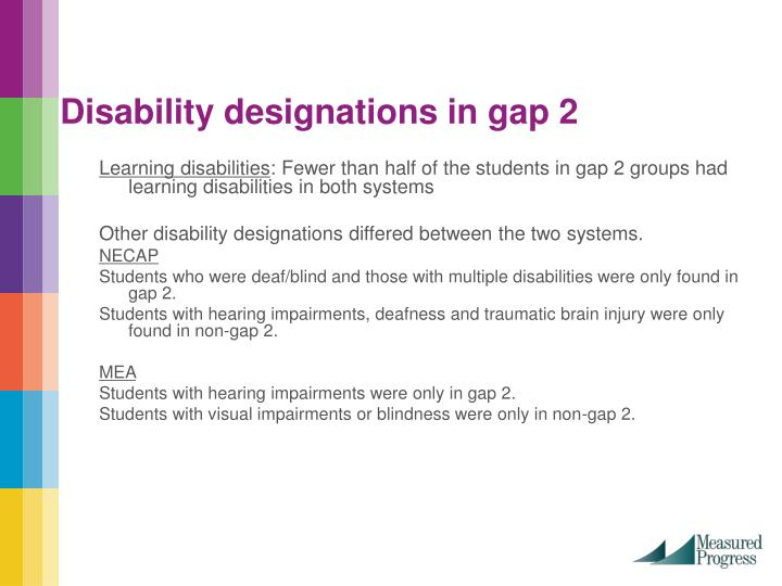 Disability designations in gap 2