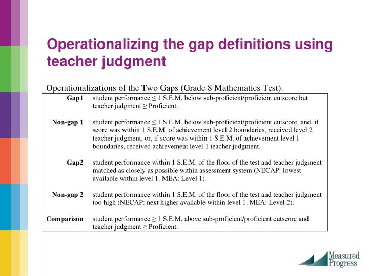 Operationalizing the gap definitions using teacher judgment
