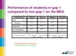 performance of students in gap 1 compared to non gap 1 on the mea