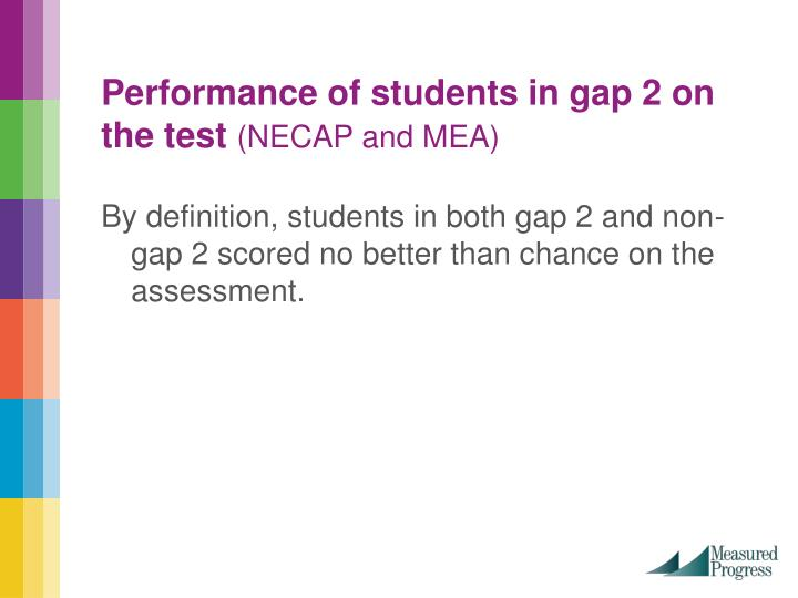Performance of students in gap 2 on the test