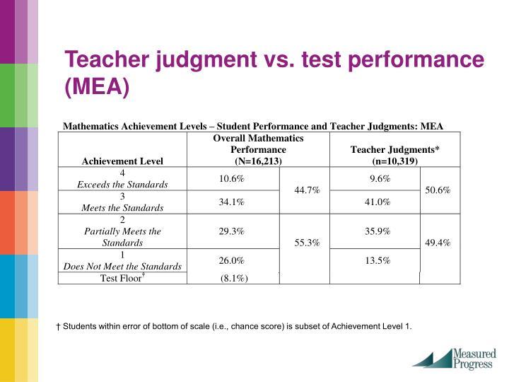 Teacher judgment vs. test performance (MEA)