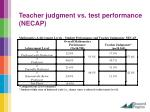 teacher judgment vs test performance necap
