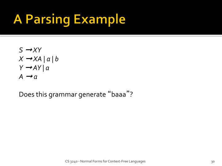 A Parsing Example