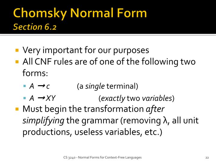 Chomsky Normal Form