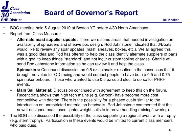 Board of Governor's Report