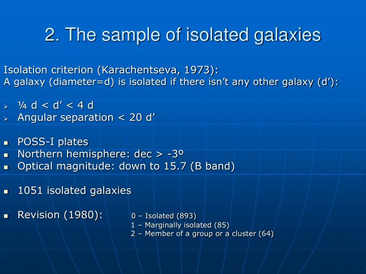 2. The sample of isolated galaxies