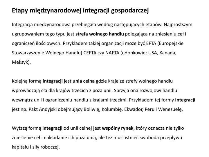 Etapy międzynarodowej integracji gospodarczej