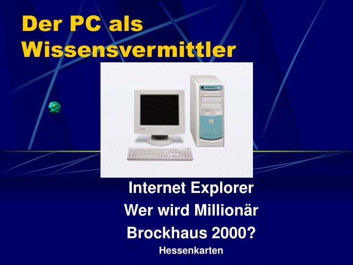 Der PC als Wissensvermittler