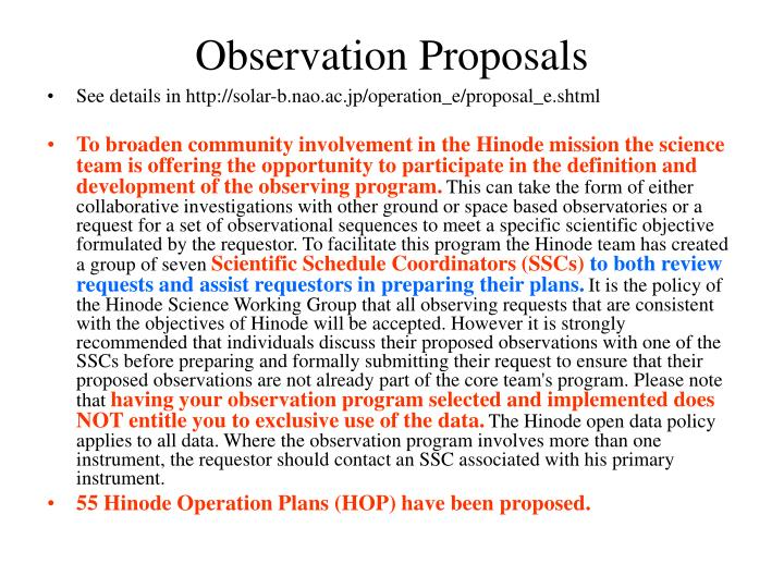 Observation proposals