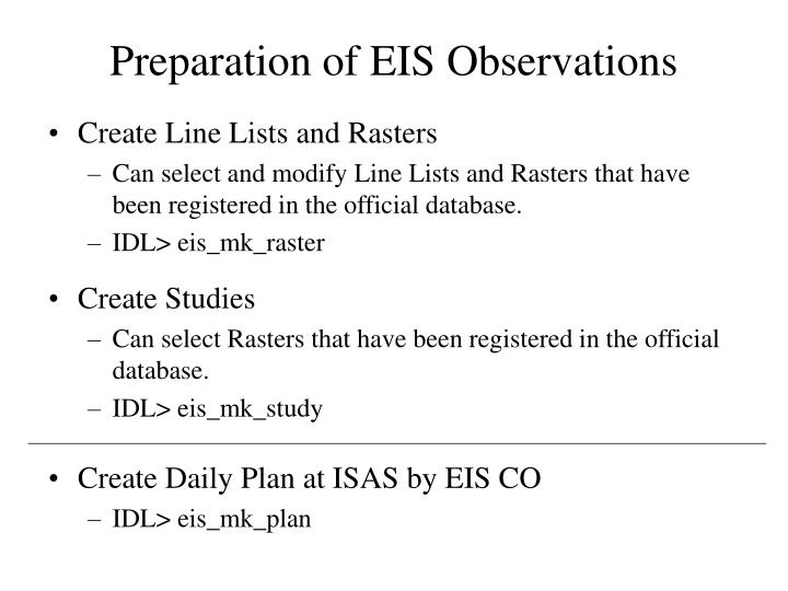 Preparation of EIS Observations