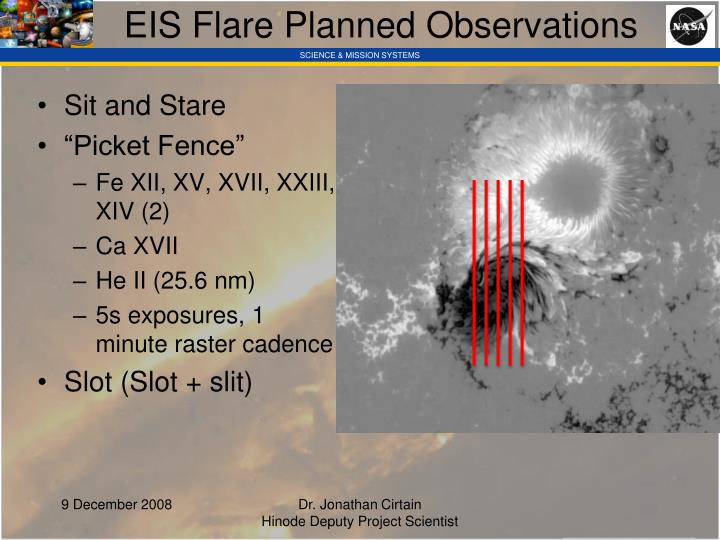 EIS Flare Planned Observations