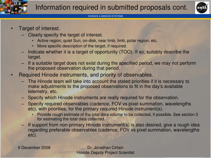 Information required in submitted proposals cont.