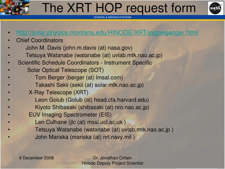The XRT HOP request form