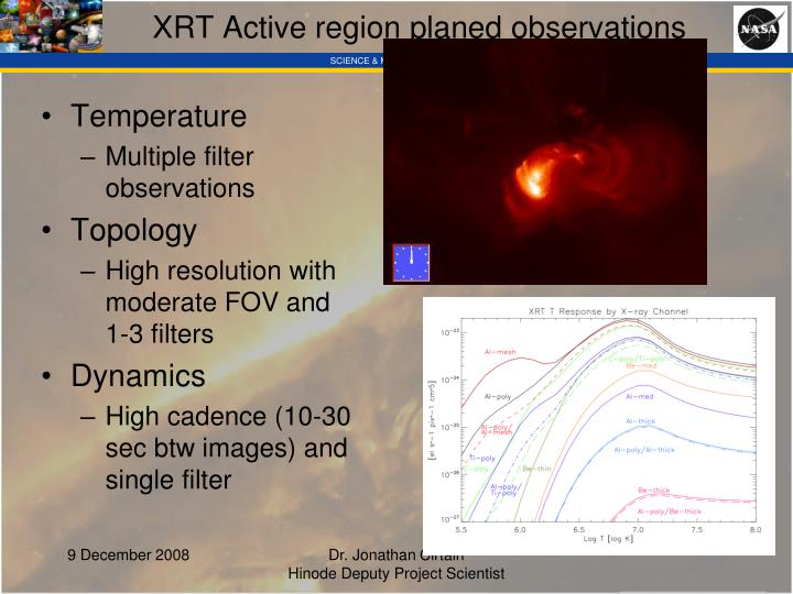 XRT Active region planed observations