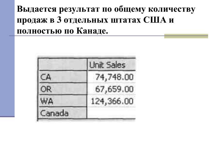 Выдается результат по общему количеству продаж в 3 отдельных штатах США и полностью по Канаде.