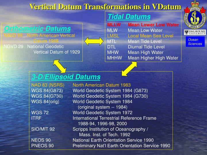 Vertical Datum Transformations in VDatum