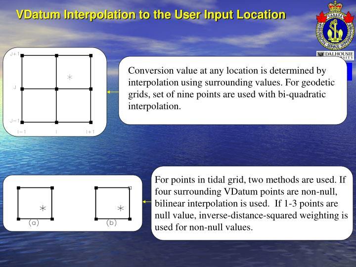 VDatum Interpolation to the User Input Location