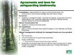 agreements and laws for safeguarding biodiversity