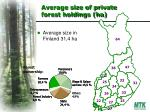 average size of private forest holdings ha