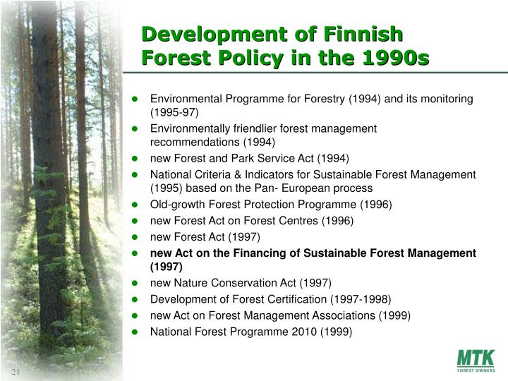 Development of Finnish Forest Policy in the 1990s